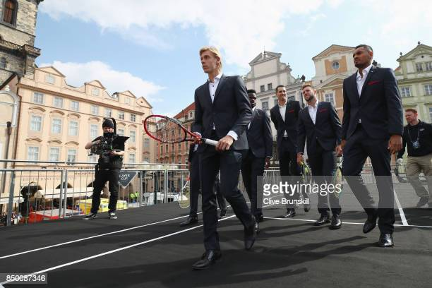 Denis Shapovalov of Canada and Team World arrive to greet the fans ahead of the Laver Cup on September 20 2017 in Prague Czech Republic The Laver Cup...