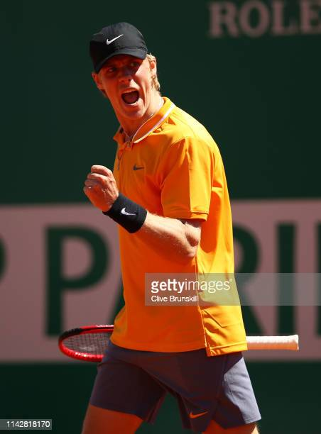 Denis Shapovalov of Canada celebrates a point against JanLennard Struff of Germany in their first round matchduring day two of the Rolex MonteCarlo...