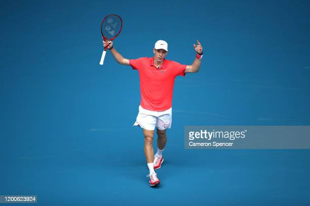 Denis Shapovalov of Canada celebrates after winning set point during his Men's Singles first round match against Marton Fucsovics of Hungary on day...