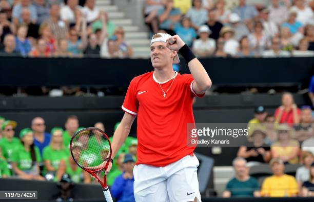 Denis Shapovalov of Canada celebrates after winning the first set in his match against Alex de Minaur of Australia during day three of the 2020 ATP...