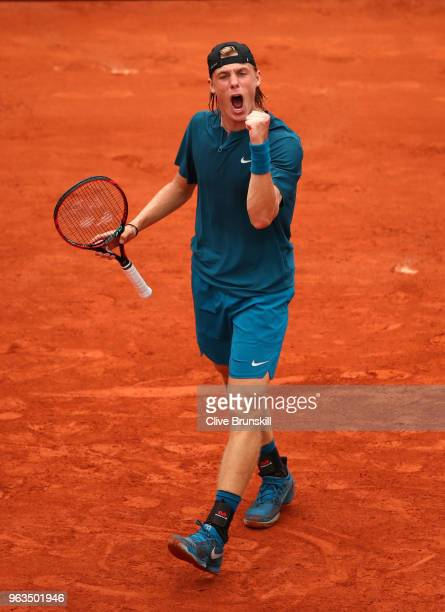 Denis Shapovalov of Canada celebrates during the mens singles first round match against John Millman of Australia during day three of the 2018 French...