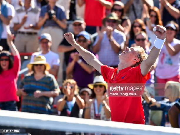 Denis Shapovalov of Canada celebrates his victory over Juan Martin del Potro of Argentina during day six of the Rogers Cup presented by National Bank...