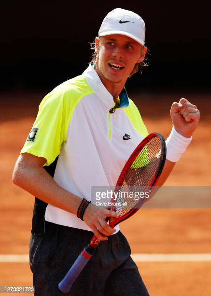 Denis Shapovalov of Canada celebrates match point in his round three match against Ugo Humbert of France during day five of the Internazionali BNL...