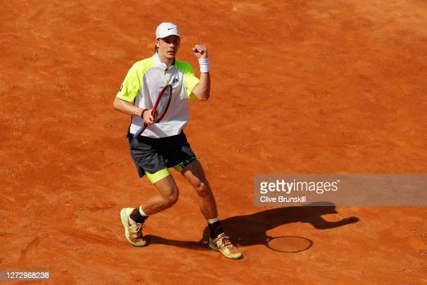 Denis Shapovalov of Canada celebrates match point in his round two match against Pedro Martinez of Spain during day four of the Internazionali BNL...