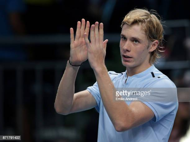 Denis Shapovalov of Canada celebrates the victory at the end of the match against Gianluigi Quinzi of Italy during Day 2 of the Next Gen ATP Finals...