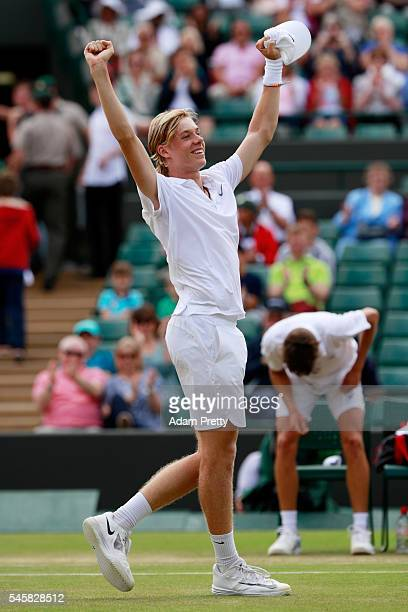 Denis Shapovalov of Canada celebrates victory during the Boy's Singles Final against Alex De Minaur of Australia on day thirteen of the Wimbledon...