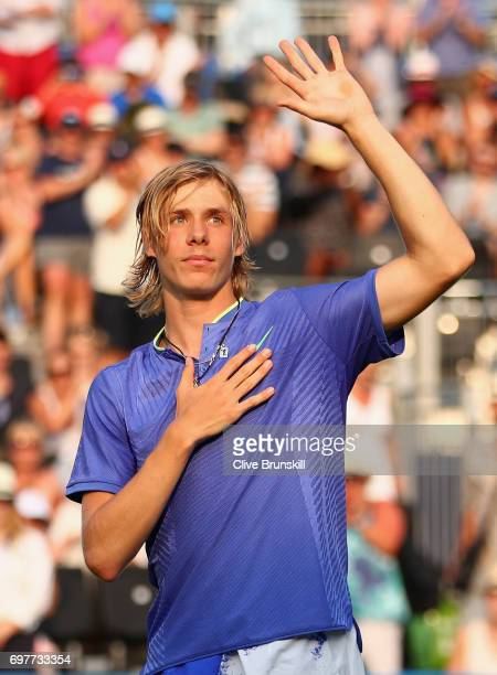 Denis Shapovalov of Canada celebrates victory during the mens singles first round match against Kyle Edmund of Great Britain during day one of the...