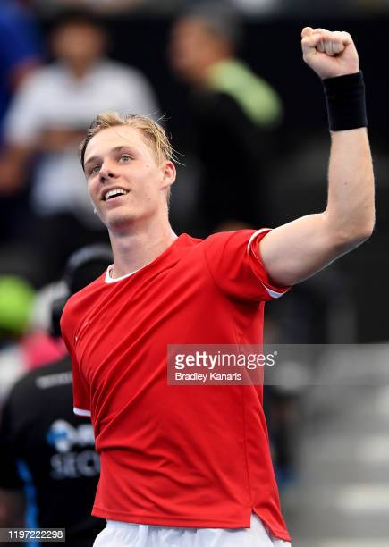 Denis Shapovalov of Canada celebrates victory in his match against Stefanos Tsitsipas of Greece during day one of the 2020 ATP Cup Group Stage at Pat...
