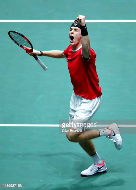 Denis Shapovalov of Canada celebrates winning a break point in the third set in his semi final singles match against Karen Khachanov of Russia during...
