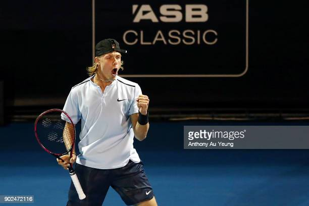 Denis Shapovalov of Canada celebrates winning a game in his first round match against Rogerio Dutra Silva of Brazil during day one of the ASB Men's...
