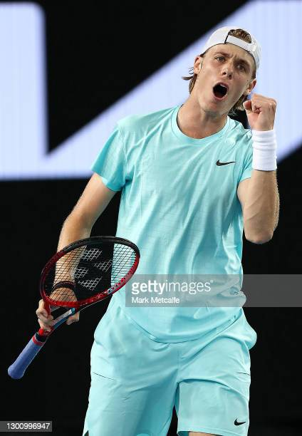 Denis Shapovalov of Canada celebrates winning a point in his Men's Singles first round match against Jannik Sinner of Italy during day one of the...