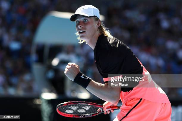 Denis Shapovalov of Canada celebrates winning a point in his second round match against JoWilfried Tsonga of France on day three of the 2018...