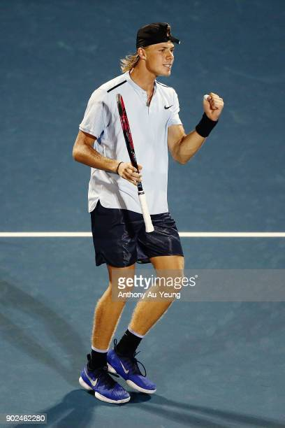 Denis Shapovalov of Canada celebrates winning a set in his first round match against Rogerio Dutra Silva of Brazil during day one of the ASB Men's...