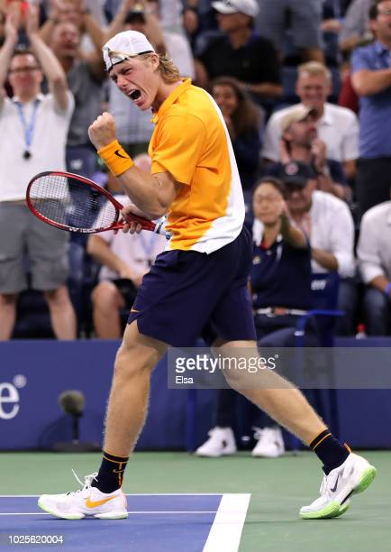 Denis Shapovalov of Canada celebrates winning the fourth set during his men's singles third round match against Kevin Anderson of South Africa on Day...