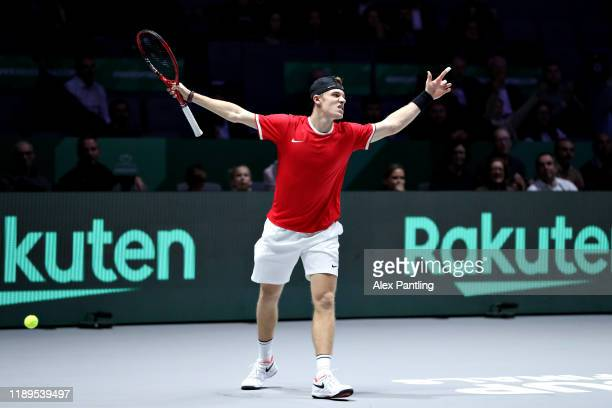 Denis Shapovalov of Canada celebrates winning the match in his semi final singles match against Karen Khachanov of Russia during Day Six of the 2019...