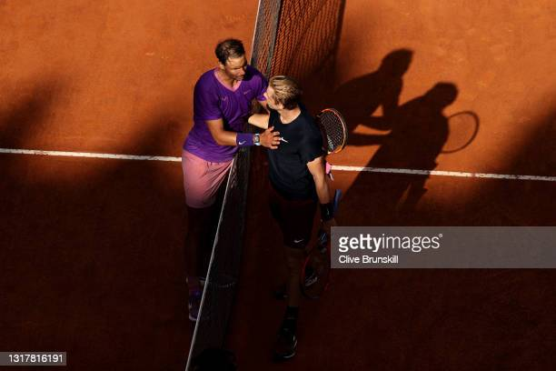 Denis Shapovalov of Canada congratulates Rafael Nadal of Spain on victory following their mens singles third round match during Day Six of the...