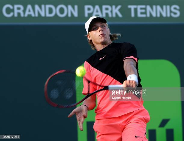 Denis Shapovalov of Canada hits a return against Borna Coric of Croatia during the fourth round on Tuesday March 27 at the Miami Open tennis...