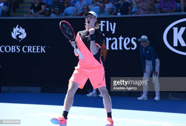 Denis Shapovalov of Canada in action against JoWilfried Tsonga of France on day three of the 2018 Australian Open at Melbourne Park on January 17...