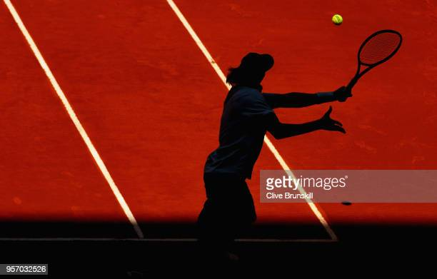Denis Shapovalov of Canada in action against Milos Raonic of Canada in their third round match during day six of the Mutua Madrid Open tennis...