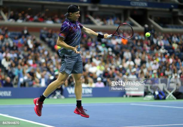 Denis Shapovalov of Canada in action during his fourth round match against Pablo Carreno Busta of Spain on Day Seven of the 2017 US Open at the USTA...