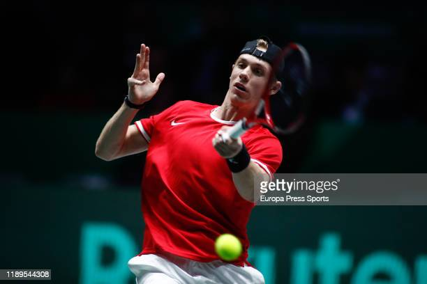 Denis Shapovalov of Canada in action during his second round singles match of SemiFinals against Karen Khachanov of Russia during the Day 6 of the...