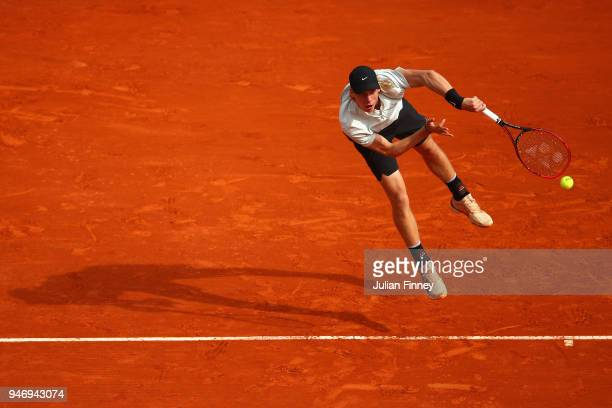 Denis Shapovalov of Canada in action in his singles match against Stefanos Tsitsipas of Greece during day two of ATP Masters Series Monte Carlo Rolex...
