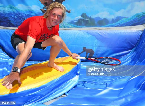Denis Shapovalov of Canada is seen surfing in the AO BallPark activities zone on day two of the 2018 Australian Open at Melbourne Park on January 16...