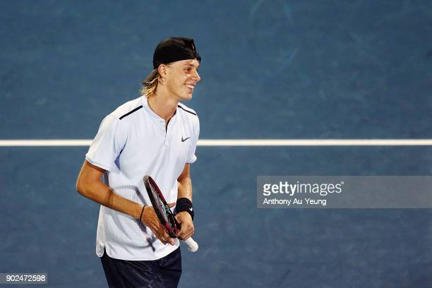 Denis Shapovalov of Canada looks on in his first round match against Rogerio Dutra Silva of Brazil during day one of the ASB Men's Classic at ASB...