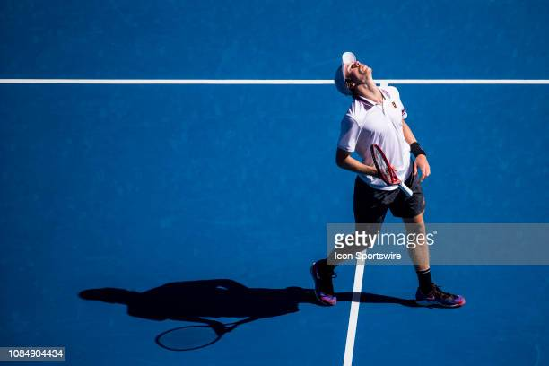Denis Shapovalov of Canada looks to the sky after losing a game during day 6 of the Australian Open on January 19 2019 at Melbourne Park in...