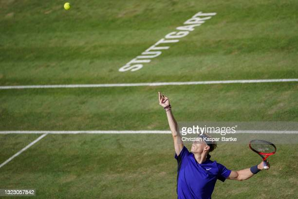 Denis Shapovalov of Canada makes a service during his match against Marin Cilic of Croatia during day 5 of the MercedesCup at Tennisclub Weissenhof...