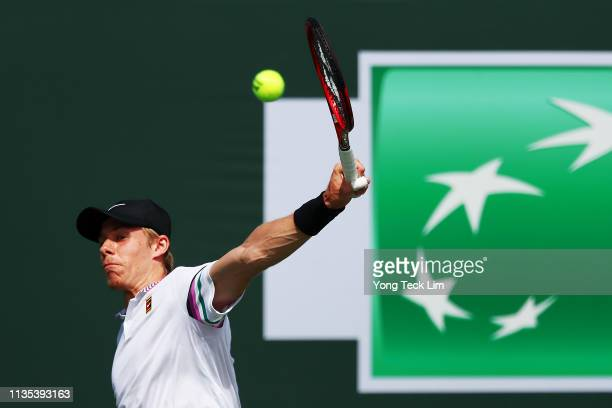 Denis Shapovalov of Canada plays a backhand against Marin Cilic of Croatia during their men's singles third round match on Day 9 of the BNP Paribas...