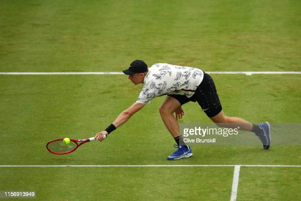 Denis Shapovalov of Canada plays a backhand during his First Round Singles Match against Juan Martin del Potro of Argentina during day Three of the...