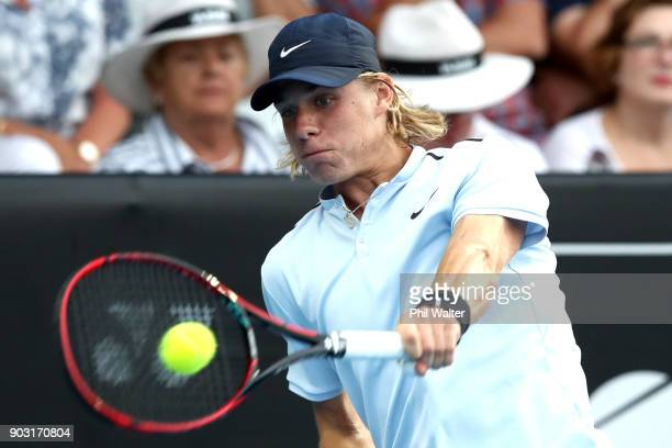 Denis Shapovalov of Canada plays a backhand during his his second round match against Juan Martin Del Porto of Argentina on day three of the ASB...