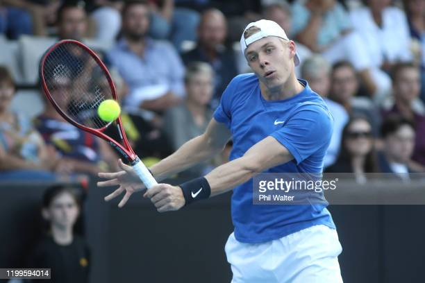 Denis Shapovalov of Canada plays a backhand during his singles match against Vasek Pospisil of Canada on day three of the 2020 Men's ASB Classic at...