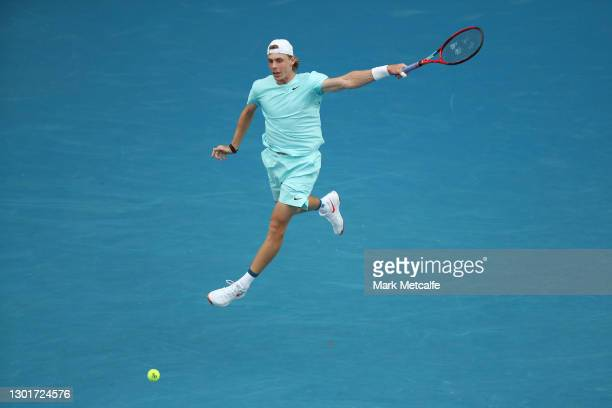 Denis Shapovalov of Canada plays a backhand his Men's Singles third round match against Felix Auger-Aliassime of Canada during day five of the 2021...