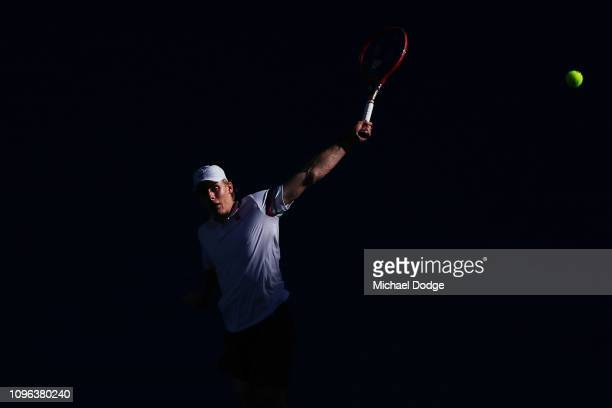 Denis Shapovalov of Canada plays a backhand in his third round match against Novak Djokovic of SerbiaDenis Shapovalov of Canadaduring day six of the...