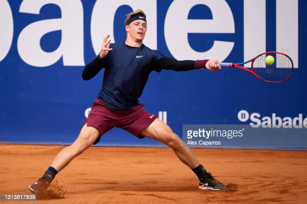 Denis Shapovalov of Canada plays a forehand against Felix Auger-Aliassime of Canada in their third round match during day four of the Barcelona Open...