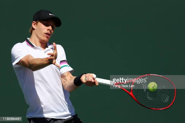 Denis Shapovalov of Canada plays a forehand against Marin Cilic of Croatia during their men's singles third round match on Day 9 of the BNP Paribas...