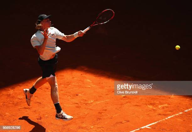 Denis Shapovalov of Canada plays a forehand against Milos Raonic of Canada in their third round match during day six of the Mutua Madrid Open tennis...