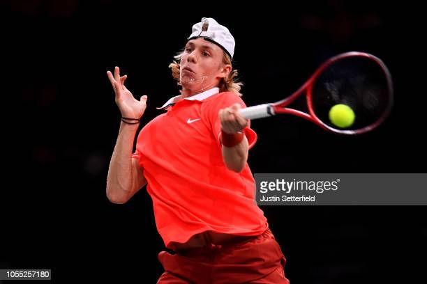 Denis Shapovalov of Canada plays a forehand against Richard Gasquet of France during Day 1 of the Rolex Paris Masters on October 29 2018 in Paris...