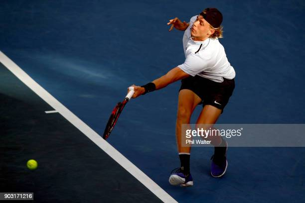 Denis Shapovalov of Canada plays a forehand during his his second round match against Juan Martin Del Porto of Argentina on day three of the ASB...