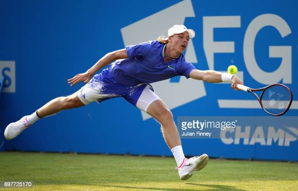 Denis Shapovalov of Canada plays a forehand during the mens singles first round match against Kyle Edmund of Great Britain during day one of the 2017...