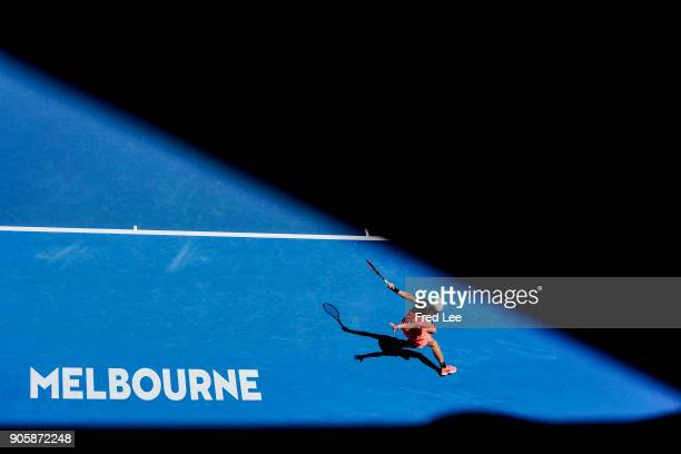 Denis Shapovalov of Canada plays a forehand in his second round match against JoWilfried Tsonga of France on day three of the 2018 Australian Open at...