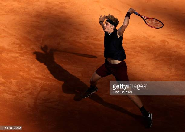 Denis Shapovalov of Canada plays a forehand in their mens singles third round match against Rafael Nadal of Spain during Day Six of the...