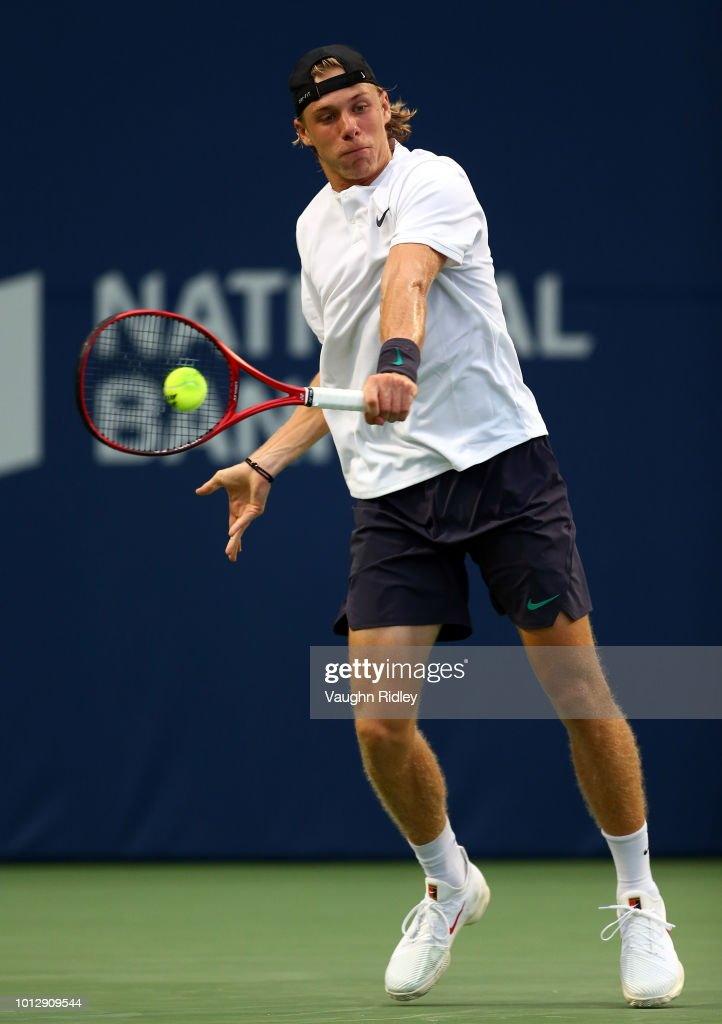 Denis Shapovalov of Canada plays a shot against Jeremy Chardy of France during a 1st round match on Day 2 of the Rogers Cup at Aviva Centre on August 7, 2018 in Toronto, Canada.