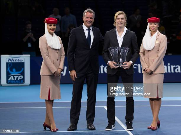 Denis Shapovalov of Canada poses with the ATP Star of Tomorrow and Most Improved Player awards at O2 Arena on November 18 2017 in London England