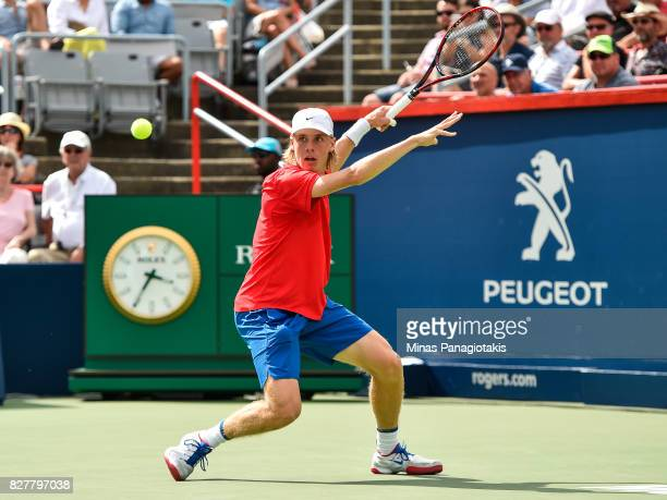 Denis Shapovalov of Canada prepares to hit a return against Rogerio Dutra Silva of Brazil during day five of the Rogers Cup presented by National...