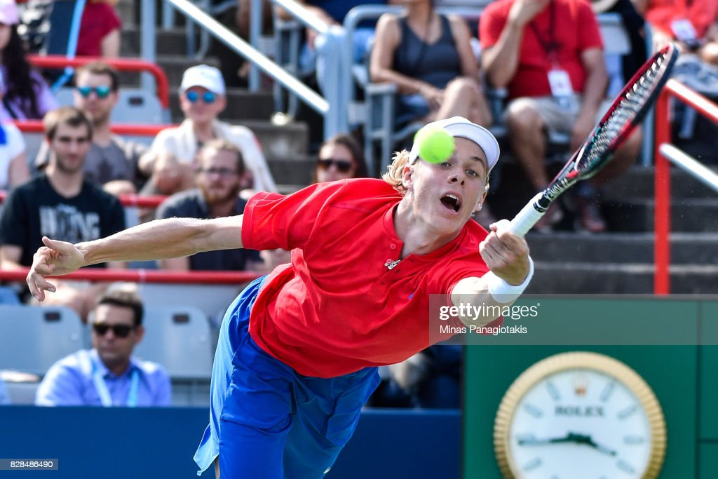 Denis Shapovalov of Canada reaches for the ball against Juan Martin del Potro of Argentina during day six of the Rogers Cup presented by National Bank at Uniprix Stadium on August 9, 2017 in Montreal, Quebec, Canada. Denis Shapovalov of Canada defeated Juan Martin del Potro of Argentina 6-3, 7-6.