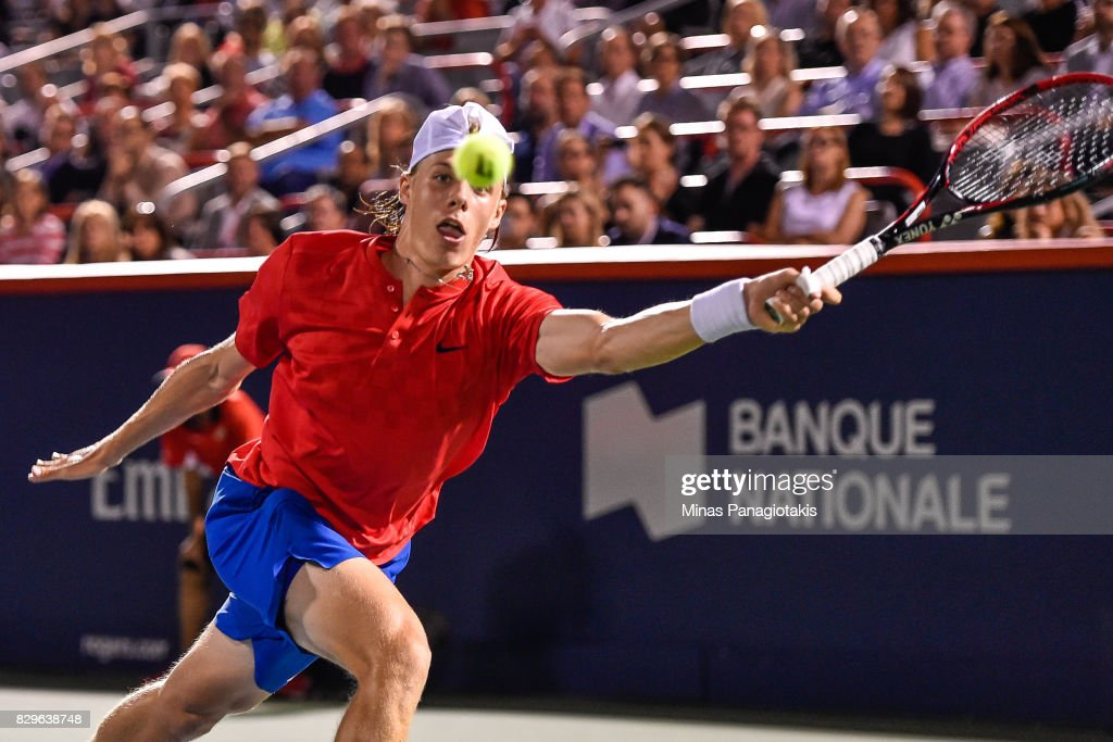 Denis Shapovalov of Canada reaches for the ball against Rafael Nadal of Spain during day seven of the Rogers Cup presented by National Bank at Uniprix Stadium on August 10, 2017 in Montreal, Quebec, Canada.