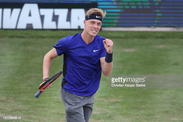 Denis Shapovalov of Canada reacts during his match against Felicano Lopez of Spain during day 4 of the MercedesCup at Tennisclub Weissenhof on June...